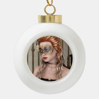 Masquerade Mask Ceramic Ball Christmas Ornament