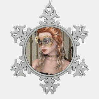 Masquerade Mask Snowflake Pewter Christmas Ornament
