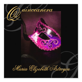 Masquerade Mask Pink Quinceanera Party Invitation