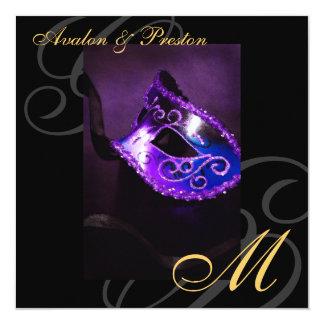 """Masquerade Mask Purple Swirl Wedding Invitation 5.25"""" Square Invitation Card"""
