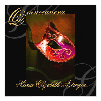 Masquerade Mask Red Quinceanera Party Invitation
