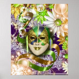 Masquerade mask venetian green purple poster