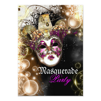 Masquerade mask venetian mardi gras party 5x7 paper invitation card