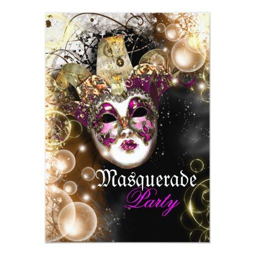 "Masquerade mask venetian mardi gras party 5"" x 7"" invitation card"