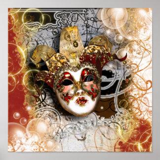 Masquerade mask venetian mardi gras party poster