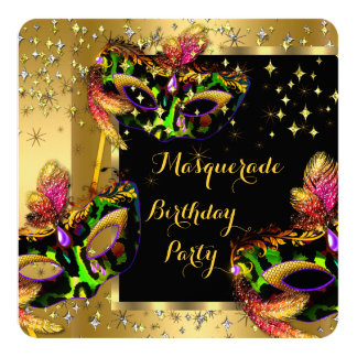 Masquerade Masked Lime Pink Gold Birthday Party 5.25x5.25 Square Paper Invitation Card