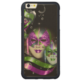 Masquerade masks girls pink green PERSONALIZE Carved Maple iPhone 6 Plus Bumper Case