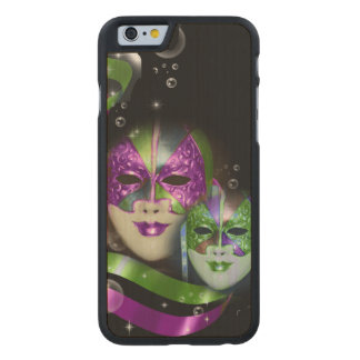 Masquerade masks girls pink green PERSONALIZE Carved Maple iPhone 6 Slim Case