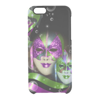 Masquerade masks girls pink green PERSONALIZE Clear iPhone 6/6S Case
