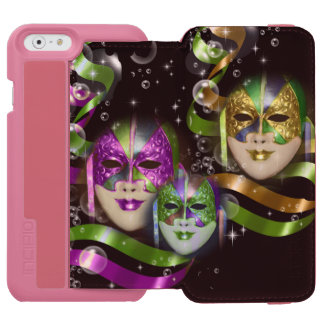 Masquerade masks girls pink green PERSONALIZE iPhone 6/6s Wallet Case