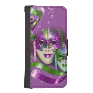 Masquerade masks girls pink green PERSONALIZE iPhone SE/5/5s Wallet
