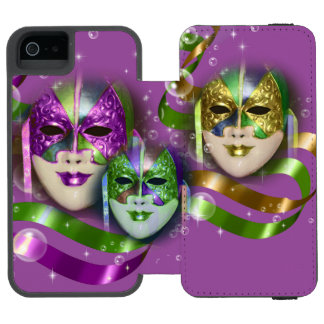 Masquerade masks girls pink green PERSONALIZE iPhone SE/5/5s Wallet Case