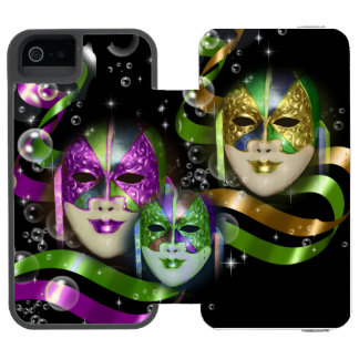 Masquerade masks girls pink green PERSONALIZE Wallet Case For iPhone SE/5/5s