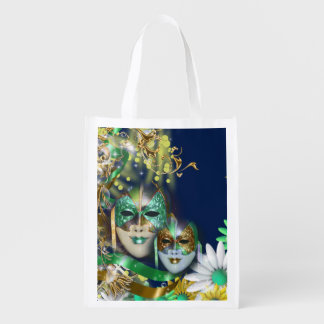 Masquerade masks navy green gold grocery bags