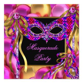 Masquerade Masks Pink Purple Blue Birthday Card