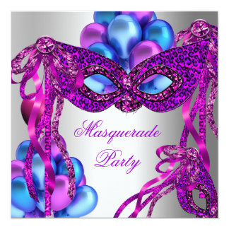Masquerade Masks Purple Pink Blue Birthday Party Invitation