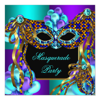 Masquerade Masks Purple Teal Blue Birthday Party Card