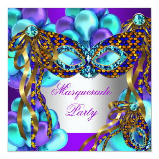 Masquerade Masks Purple Teal Blue Birthday Party Invitation