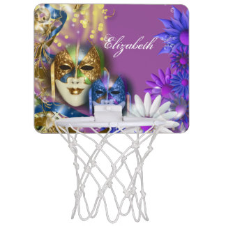 Masquerade monogram girls name PERSONALIZE Mini Basketball Backboard