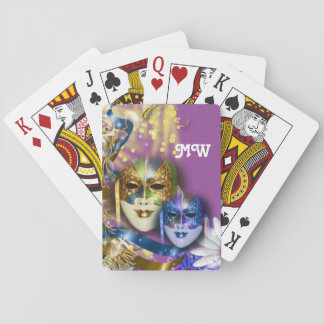 Masquerade monogram girls name PERSONALIZE Poker Cards