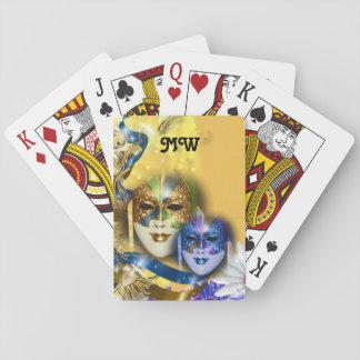 Masquerade monogram girls name PERSONALIZE Playing Cards