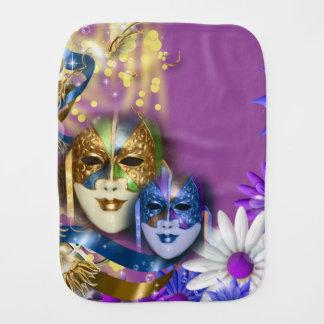 Masquerade monogram Venetian masks Baby Burp Cloth