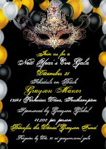 masquerade new years eve gala invitation