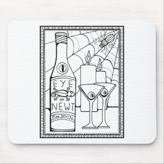 Masquerade Newt Martini Line Art Design Mouse Pad