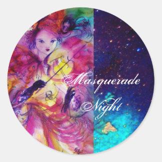MASQUERADE NIGHT Carnival Musician in Pink Costume Classic Round Sticker