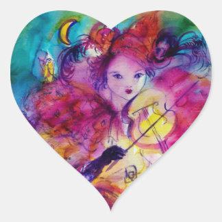 MASQUERADE NIGHT Carnival Musician in Pink Costume Heart Sticker