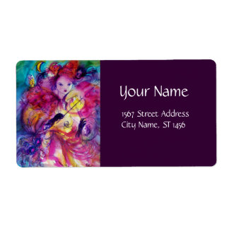 MASQUERADE NIGHT Carnival Musician in Pink Costume Personalized Shipping Label