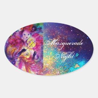 MASQUERADE NIGHT Carnival Musician in Pink Costume Oval Sticker