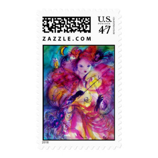 MASQUERADE NIGHT Carnival Musician in Pink Costume Postage
