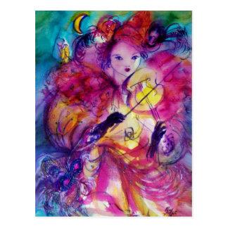 MASQUERADE NIGHT Carnival Musician in Pink Costume Postcard