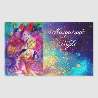 MASQUERADE NIGHT Carnival Musician in Pink Costume Rectangular Sticker
