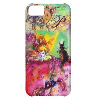 MASQUERADE NIGHT / LADY WITH BLACK CAT MONOGRAM CASE FOR iPhone 5C
