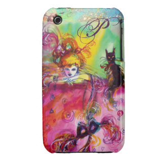 MASQUERADE NIGHT / LADY WITH BLACK CAT MONOGRAM iPhone 3 COVERS