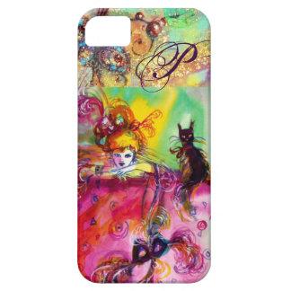 MASQUERADE NIGHT / LADY WITH BLACK CAT MONOGRAM iPhone SE/5/5s CASE