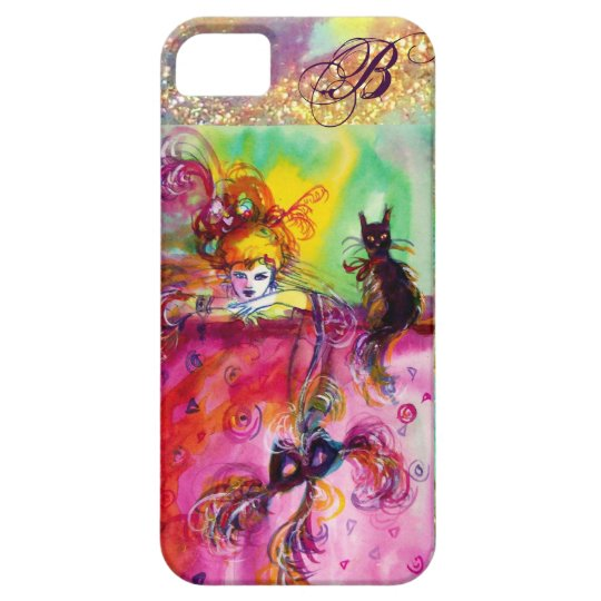 MASQUERADE NIGHT / LADY WITH BLACK CAT MONOGRAM iPhone SE/5/5s CASE