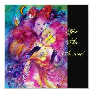 MASQUERADE NIGHT PARTY 5.25X5.25 SQUARE PAPER INVITATION CARD