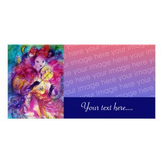 MASQUERADE NIGHT pink red blue Custom Photo Card
