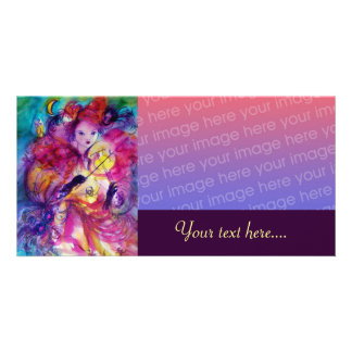 MASQUERADE NIGHT pink red blue yellow purple Personalized Photo Card