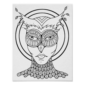 Masquerade Owl Cardstock Adult Coloring Page Poster