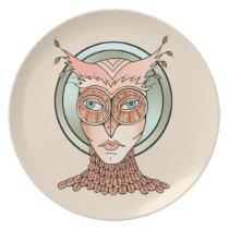 Masquerade Owl Dinner Plate