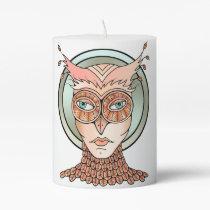 Masquerade Owl Pillar Candle
