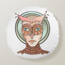 Masquerade Owl Round Pillow