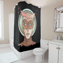 Masquerade Owl Shower Curtain