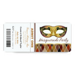 Masquerade Party Admit One Ticket | bronze 4x9.25 Paper Invitation Card