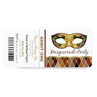 "Masquerade Party Admit One Ticket | bronze 4"" X 9.25"" Invitation Card"