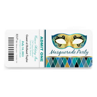 Masquerade Party Admit One Ticket | teal Personalized Invite